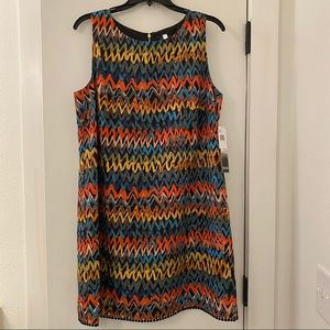 NWT Kensie Colorful Chevron Dress Exposed Zipper